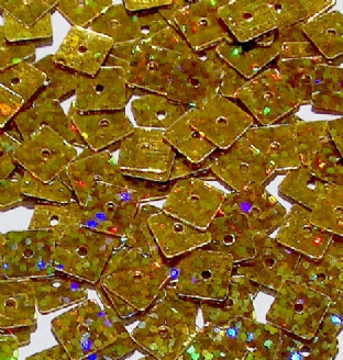 CLEARANCE Value Pack 7mm Hologram Gold Square Sequins. SAVE £2